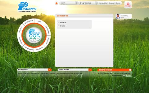 Screenshot of Contact Page eidparry.com - EID Parry: Contact Us For Sugar, Bio-Products and Nutraceuticals - captured Sept. 19, 2014