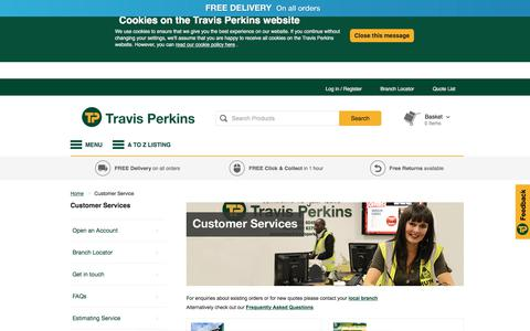 Screenshot of Support Page travisperkins.co.uk - Customer Service | Travis Perkins - captured April 18, 2018