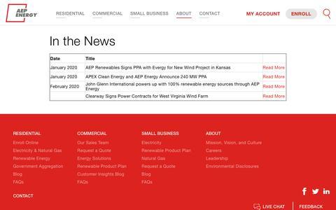 Screenshot of Press Page aepenergy.com - In the News | AEP Energy - captured Feb. 17, 2020