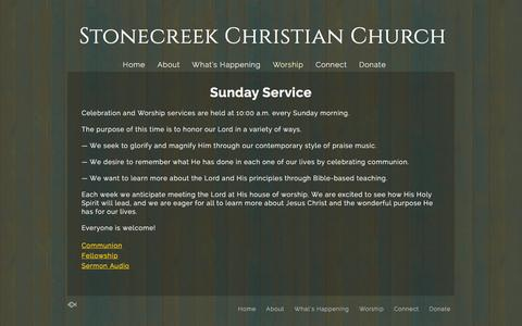 Screenshot of Services Page stonecreek.org - Services «  Stonecreek Christian Church - captured Jan. 23, 2016