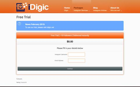 Screenshot of Trial Page idigic.com - iDigic - Free Trial - Free Instagram Followers - captured Feb. 18, 2016
