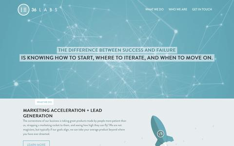 Screenshot of Home Page 36labs.com - 36 LABS. Online Marketing, Lead Generation, Platform Engineering - captured Aug. 14, 2015