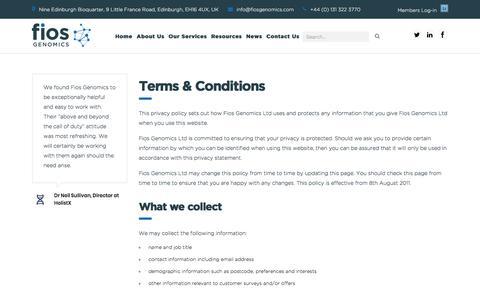 Screenshot of Terms Page fiosgenomics.com - Terms & Conditions - Fios Genomics - captured Oct. 13, 2017