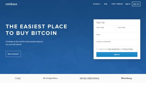 Screenshot of Home Page coinbase.com - Buy and Sell Bitcoin - Coinbase - captured Sept. 20, 2015