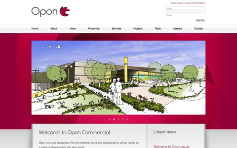 Screenshot of Home Page opon.co.uk - Opon - Multi-Disciplinary Chartered Surveyors - Home - captured Oct. 9, 2014