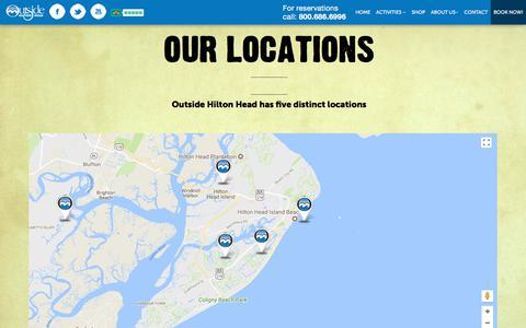 Screenshot of Locations Page outsidehiltonhead.com - Outside Hilton Head Has 5 Distinct Area Locations to Serve You Better - captured Nov. 12, 2017