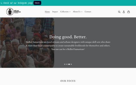 Screenshot of Home Page skilledsamaritan.com - Skilled Samaritan. Revived craft made from waste materials - captured Oct. 18, 2018