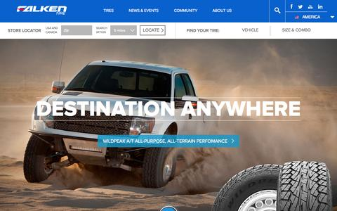Screenshot of Home Page falkentire.com - Tires For Cars, Trucks And SUVs | Falken Tire - captured Aug. 3, 2015