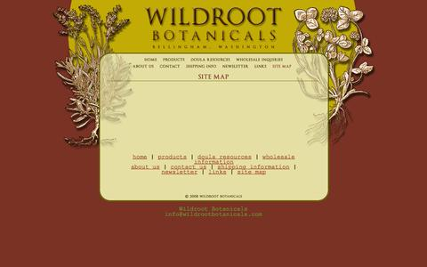 Screenshot of Site Map Page wildrootbotanicals.com - Wildroot Botanicals, Bellingham, WA : Site Map - captured Feb. 23, 2016