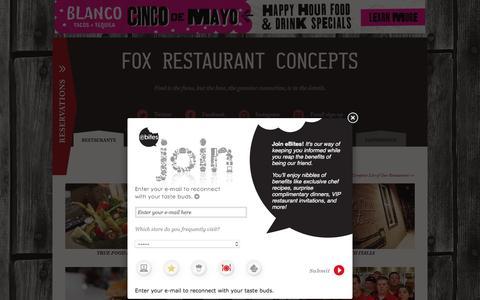 Screenshot of Home Page foxrc.com - Fox Restaurant Concepts | Progressive Community Restaurants Near You - captured April 20, 2016