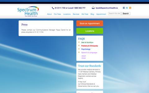 Screenshot of Press Page spectrumhealth.ie - Press   Spectrum Health - captured Oct. 6, 2014