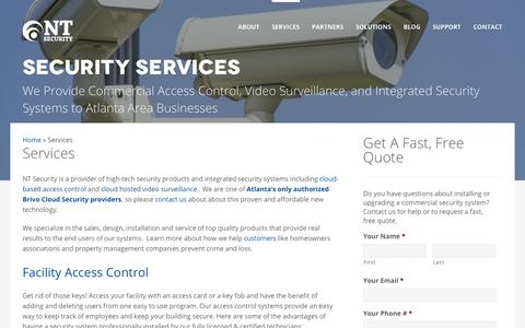 Screenshot of Services Page ntsecurityllc.com - Video Surveillance, Access Control & Alarm Systems | NT Security - captured Feb. 2, 2020