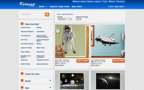Screenshot of Products Page fathead.com - Space Exploration - captured Sept. 22, 2014