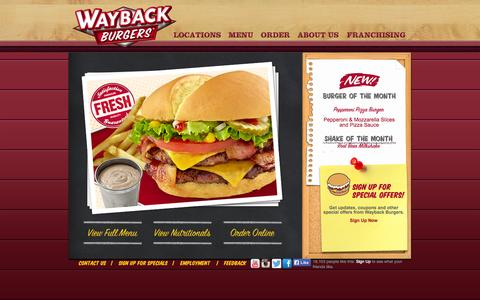 Screenshot of Menu Page waybackburgers.com - Menu - Wayback Burgers - captured Sept. 23, 2014
