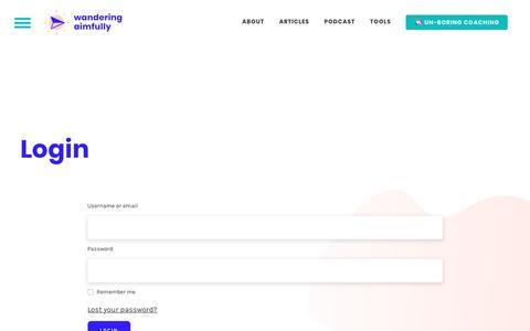 Screenshot of Login Page wanderingaimfully.com - Login – Wandering Aimfully - captured Oct. 6, 2019