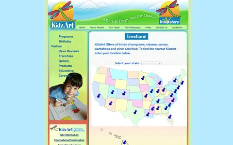 Screenshot of Locations Page kidzart.com - KidzArt Official Site - Leading Art Education art franchises all across America and now International! - captured Oct. 1, 2014