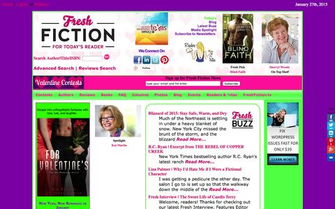 Screenshot of Home Page freshfiction.com - Books and Authors for today's readers of Mystery, Thrillers, Romance, Suspense, Fantasy, and Science Fiction - captured Jan. 28, 2015