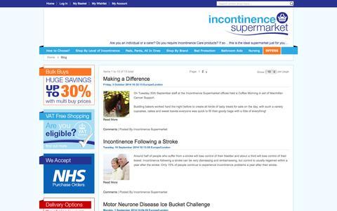 Screenshot of Blog incontinencesupermarket.co.uk - Incontinence Supermarket: Blog - captured Oct. 6, 2014