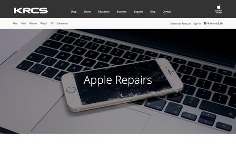 Screenshot of Support Page krcs.co.uk - Apple Repairs & Tech Support | KRCS - captured Nov. 27, 2016