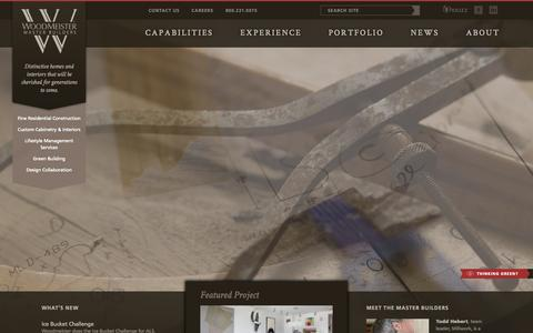 Screenshot of Home Page woodmeister.com - High-end custom home builder New England | Woodmeister - captured Oct. 7, 2014