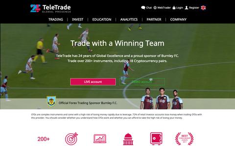 Screenshot of Home Page teletrade.eu - 24 years of remarkable global presence | TeleTrade - captured Oct. 16, 2018
