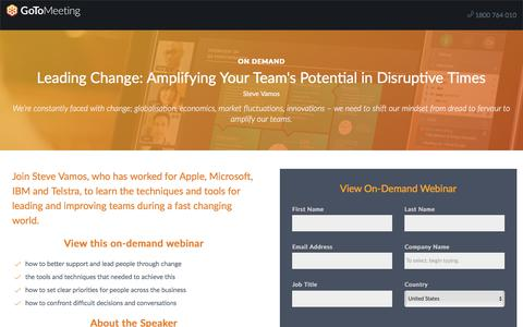 Screenshot of Landing Page gotomeeting.com - Leading Change: Amplifying Your Team's Potential in Disruptive Times - captured Oct. 12, 2017
