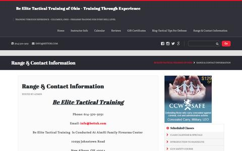 Screenshot of Contact Page bettoh.com - Range & Contact Information - Be Elite Tactical Training of Ohio - captured Nov. 22, 2016