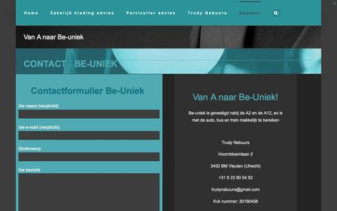 Screenshot of Contact Page be-uniek.nl - contact - captured Feb. 7, 2016