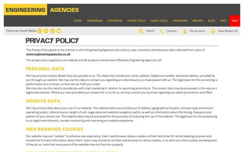 Screenshot of Privacy Page engineeringagencies.co.uk - Privacy Policy - captured Sept. 28, 2018