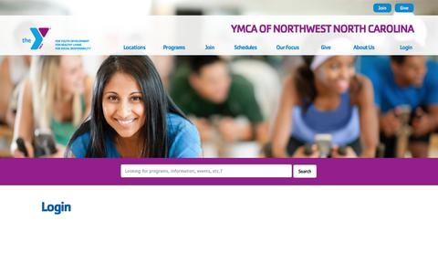 Screenshot of Login Page ymcanwnc.org - Login - YMCA of Northwest North Carolina - captured Sept. 29, 2017