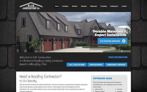 Screenshot of Home Page rjkco.com - Roofing Contractor | Siding Contractor | RJK Construction Co. - captured Oct. 7, 2014