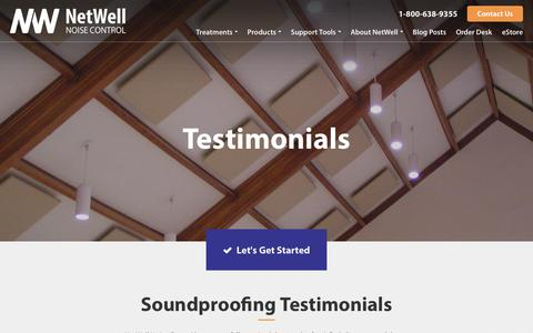 Screenshot of Testimonials Page controlnoise.com - Best Soundproofing Solutions | NetWell - captured Sept. 23, 2018