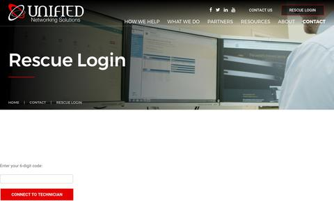Screenshot of Login Page unifieditsupport.com - Rescue Login | Unified Networking Solutions - captured June 11, 2017