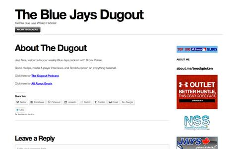 Screenshot of About Page wordpress.com - About The Dugout | The Blue Jays Dugout - captured April 3, 2017
