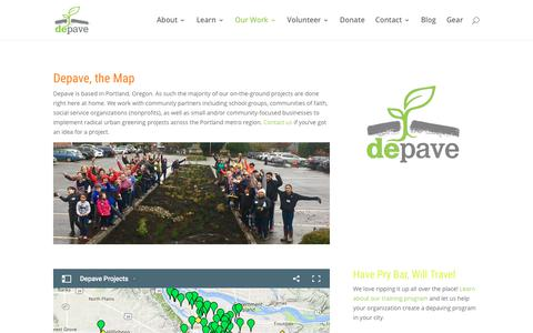 Screenshot of Maps & Directions Page depave.org - Depave. From Parking Lots to Paradise   Map of Projects - captured Aug. 6, 2018