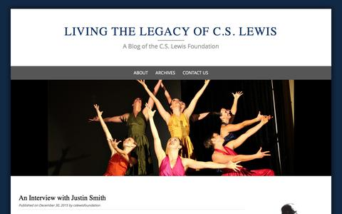 Screenshot of Blog cslewis.org - Living the Legacy of C.S. Lewis - A Blog of the C.S. Lewis Foundation - captured Jan. 23, 2016
