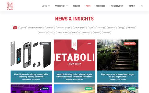 Screenshot of Press Page metabolic.nl - News, Insights and Updates from Metabolic - captured Nov. 17, 2019