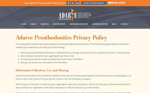 Screenshot of Privacy Page adarveprosthodontics.com - Privacy Policy | Adarve Prosthodontics - captured May 29, 2017