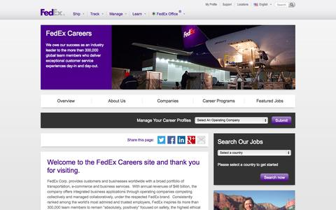 Screenshot of Jobs Page fedex.com - Welcome to the FedEx Careers site and thank you for visiting.  - FedEx Careers FedEx Careers - captured June 22, 2015