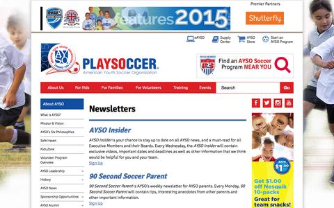 Screenshot of Signup Page ayso.org - Newsletters - captured Oct. 29, 2015