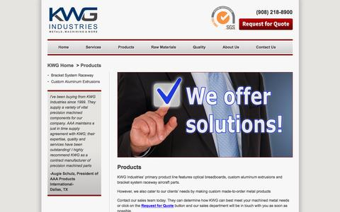 Screenshot of Products Page kwgindustries.com - Products | KWG Industries - captured Aug. 8, 2016