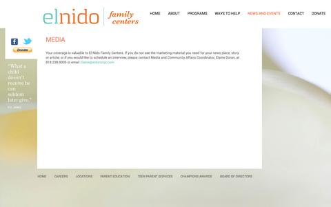 Screenshot of Press Page elnidofamilycenters.org - El Nido Family Centers non-profit social services organization - - El Nido Family Centers - captured Sept. 29, 2014