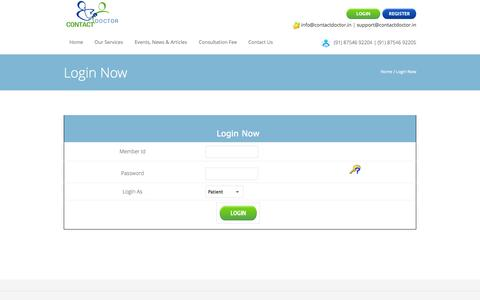 Screenshot of Login Page contactdoctor.in - Login Now | Online Medical Consultation | Online Healthcare Services | Homecare Services - ContactDoctor.in - captured Sept. 30, 2014