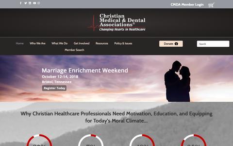 Screenshot of Home Page cmda.org - CMDA Home – Christian Medical & Dental Associations - captured Sept. 28, 2018