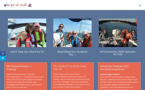 Screenshot of Testimonials Page go-n-sail.com - Testimonials | Go-n-sail - captured July 25, 2018