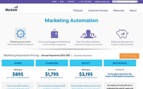Screenshot of Pricing Page marketo.com - Pricing | Marketo Marketing Automation - captured Oct. 10, 2014