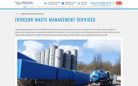 Screenshot of About Page frogsons.co.uk - Frogson Waste Management Services | Frogsons - captured Oct. 14, 2017