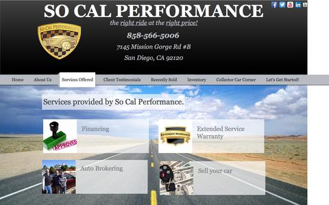 Screenshot of Services Page socalperform.com - So Cal Performance- Services Offered - captured Nov. 30, 2016