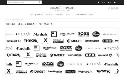 Screenshot of Locations Page urbanintimates.com - Retail Partners - captured Feb. 14, 2016