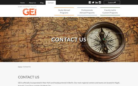Screenshot of Contact Page global-engagement.org - Contact Us // Global Engagement Institute (GEI) - captured Sept. 28, 2018